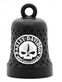 Harley-Davidson® Willie G® Skull Ride Bell   Matte Black   Embossed Diamond-Plated Background