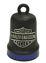 Harley-Davidson® Bar & Shield® Ride Bell | Matte Black With Blue Stripe