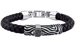 Harley-Davidson® Men's Driftwood Round Braided Leather Bracelet | Black & Silver