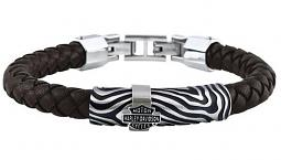 Harley-Davidson® Men's Driftwood Round Braided Leather Bracelet | Brown & Silver