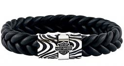 Harley-Davidson® Men's Driftwood Flat Braided Leather Bracelet | Black & Silver