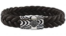 Harley-Davidson® Men's Driftwood Flat Braided Leather Bracelet | Brown & Silver