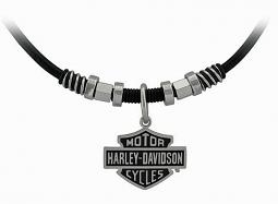 Harley-Davidson® Men's Nut & Coil Bar & Shield® Leather Necklace | Two Sizes