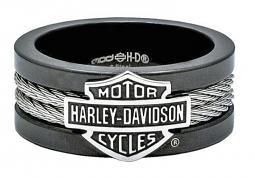 Harley-Davidson® Men's Steel Cable Band Ring