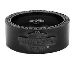 Harley-Davidson® Men's Black-On-Black Bar & Shield® Band Ring
