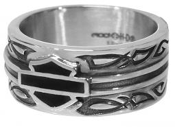 Harley-Davidson® Men's Celtic Band Ring | Black Fill