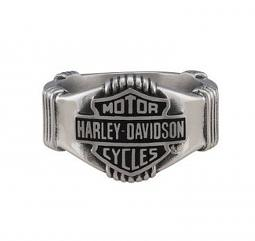 Harley-Davidson® Men's Nut & Coil Bar & Shield® Ring | Black Fill