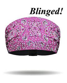 That's A Wrap!® Women's Foil Bandana Knotty Band™ Head Wrap | Hot Pink | AB Crystal Embellishments