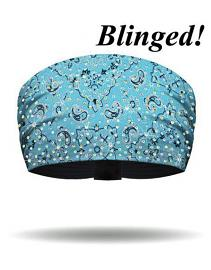That's A Wrap!® Women's Foil Bandana Knotty Band™ Head Wrap | Turquoise | AB Crystal Embellishments