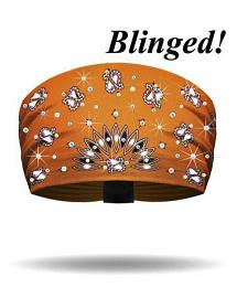 That's A Wrap® Women's Engineered Bandana Print Knotty Band™ Head Wrap | Orange | AB Crystal Embellishments