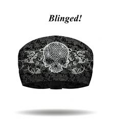That's A Wrap® Women's Skull & Scrolls Knotty Band™ Head Wrap | Grey | AB Crystal Embellishments