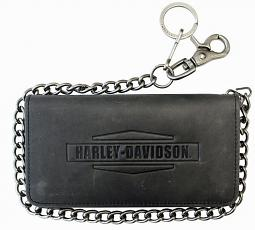 "Harley-Davidson® Men's Crazy Horse Tall Biker Wallet | Zip Coin Pocket | Bi-Fold | 19"" Chain"