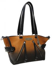 Harley-Davidson® Women's Ombré Satchel Handbag | Orange-Into-Black | Two Shoulder Strap Options