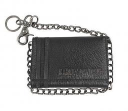 "Harley-Davidson® Men's Punk 1903 Medium Biker Tri-Fold Wallet | 19"" Biker Chain"