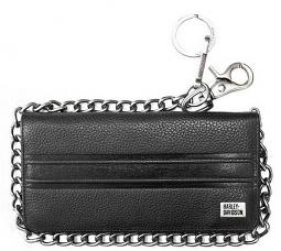 "Harley-Davidson® Men's Racer Stripe Tall Biker Wallet | Bi-Fold | RFID Protection | 19"" Chain"