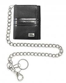"Harley-Davidson® Men's Racer Stripe Short Biker Wallet | Tri-Fold | RFID Protection | 19"" Chain"