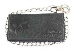 "Harley-Davidson® Men's Skull Bi-Fold Tall Biker Wallet | 19"" Biker Chain"