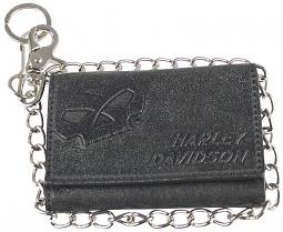 "Harley-Davidson® Men's Skull Graphite Medium Biker Wallet | Tri-Fold | Zipper Coin Pocket | 19"" Biker Chain"