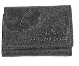 Harley-Davidson® Men's Skull Tri-Fold Wallet | Zip Close Coin Pocket