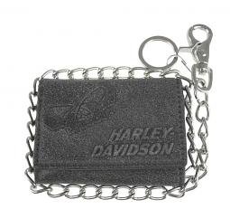 "Harley-Davidson® Men's Skull Graphite Tri-Fold Short Biker Wallet | Zip Coin Pocket | 19"" Biker Chain"
