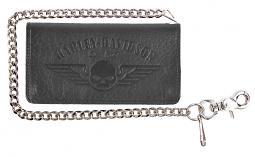 Harley-Davidson® Men's Willie G® Skull Chain Bi-Fold Leather Wallet