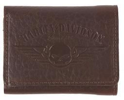 Harley-Davidson® Men's Genuine Bison Leather Classic Tri-Fold Wallet | Brown | Willie G® Skull Logo