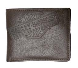 Harley-Davidson® Men's Genuine Bison Leather Classic Billfold | Brown