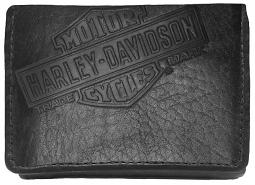 Harley-Davidson® Men's Genuine Bison Leather Classic Tri-Fold Wallet | Bar & Shield®