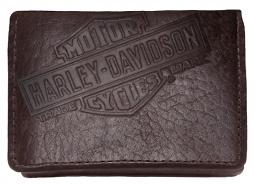 Harley-Davidson® Men's Genuine Bison Leather Classic Tri-Fold Wallet | Brown| Bar & Shield®