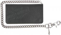 "Harley-Davidson® Men's Genuine Bison Leather Tall Biker Bi-Fold Wallet | Bi-Fold | 22"" Biker Chain"