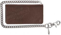 "Harley-Davidson® Men's Genuine Bison Leather Tall Biker Bi-Fold Wallet | Brown | Bi-Fold | 22"" Biker Chain"