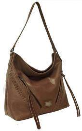 Harley-Davidson® Women's Tan Buffalo Hide Hobo Handbag | Antique Nickel Embellishments