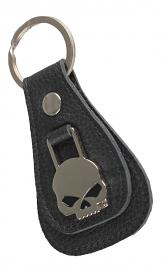 Harley-Davidson® Willie G® Skull Medallion Teardrop Key Fob | Black Leather