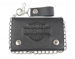 "Harley-Davidson® Men's Medium Tri-Fold Plus Trucker Wallet | Embossed Bar & Shield® | 19"" Biker Chain"