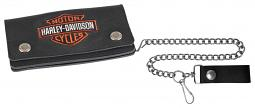 "Harley-Davidson® Men's Bar & Shield® Tall Trucker Wallet | 19"" Chain"