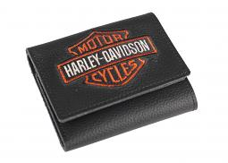 Harley-Davidson® Men's Bar & Shield Tri-fold Black Leather Wallet