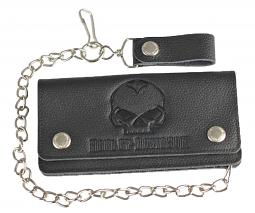 Harley-Davidson® Men's Willie G® Skull Embossed Leather Tall Trucker Wallet | Biker Wallet With Chain