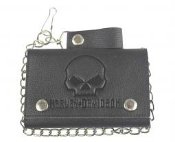 "Harley-Davidson® Men's Willie G® Skull Embossed Leather Medium Trucker Wallet | Tri-Fold Plus | 19"" Biker Chain"