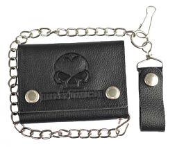 Harley-Davidson® Men's Willie G® Skull Embossed Leather Medium Trucker Wallet | Tri-Fold | Biker Wallet With Chain