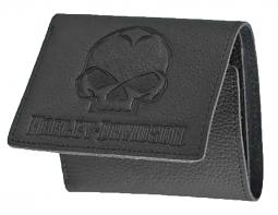 Harley-Davidson® Men's Willie G® Skull Embossed Leather Tri-Fold Wallet