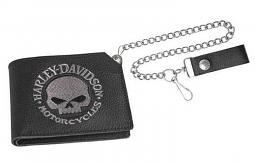 "Harley-Davidson® Men's Willie G® Skull Short Trucker Wallet | 19"" Chain"