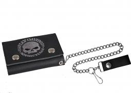 "Harley-Davidson® Men's Willie G® Skull Medium Trucker Wallet | 19"" Chain"