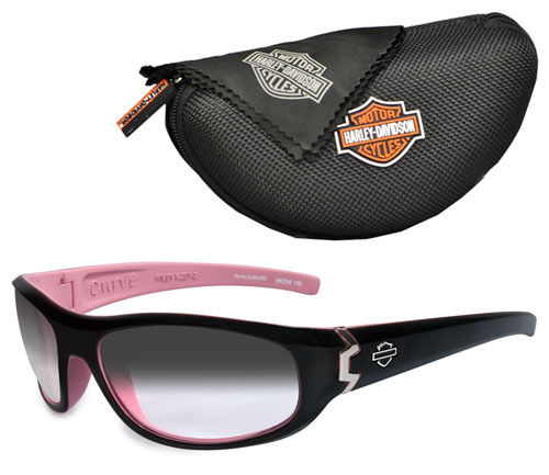 Harley-Davidson® Women's Wiley-X® Curve Sunglasses | Light Adjusting Grey Lenses | Cotton Candy Pink & Black Frames