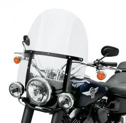 Harley-Davidson® King-Size Detachables™ Windshield for FL Softail® Models 21 Inch Clear/Gloss Black Braces