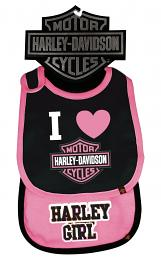 Harley-Davidson® Girls' Pink & Black Bibs Two Pack