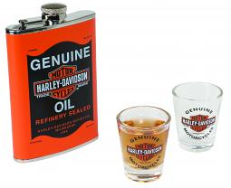 Harley-Davidson® Genuine Oil Can Flask & Shot Glass Gift Set